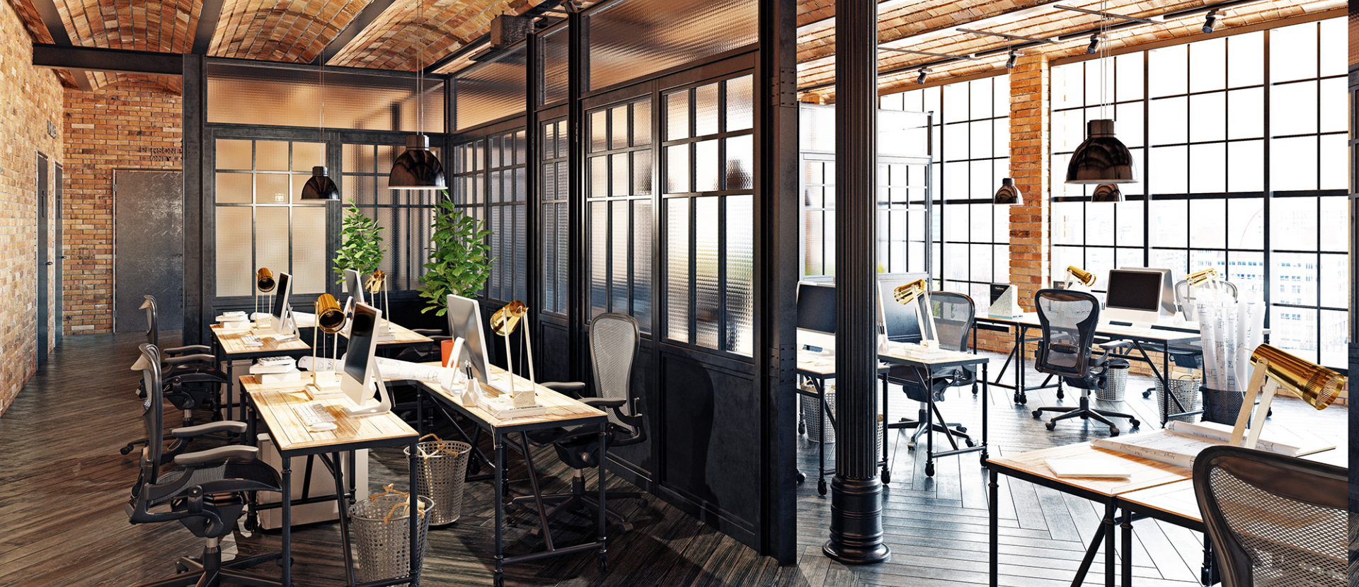photo of a very wood-focused office space with japanese style paneled walls